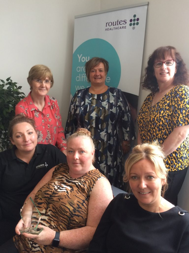 Routes Healthcare team Helen Seth, Senior Trainer, Sarah Mooney, Senior Trainer, Alison Wiseman, Clinical Lead, Julie Watkins, Case Manager and Kerrie Styles, Recruitment Manager, with Carole Sydenham of Learning Unlimited.